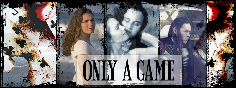 a banner for Only A Game - a woman, an elf kissing a woman, an elf with a sword, in front of a background of the sea