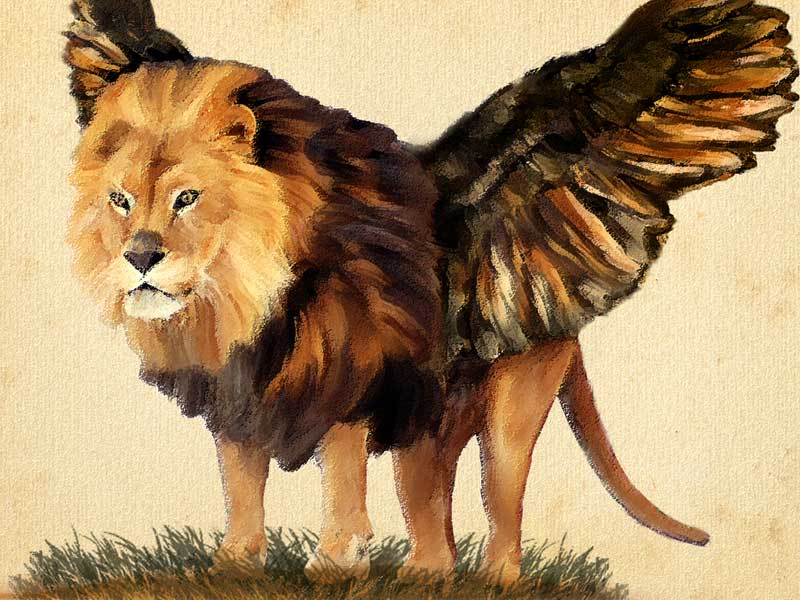 A winged lion standing on a meadow