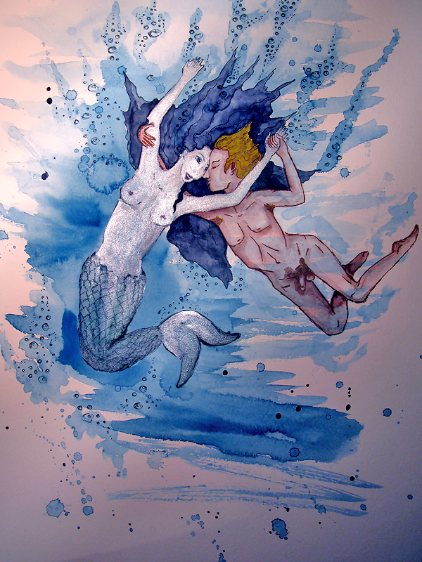 A mermaid and her human lover playing and cavorting in the water