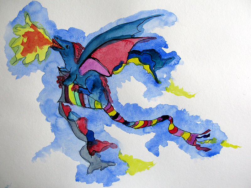 A dragon emerging from a flying kite
