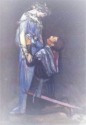 A knight kneels before a lady dressed in blue and wreathed in flowers.